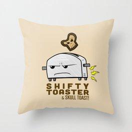 Shifty Toaster & Skull Toast Throw Pillow