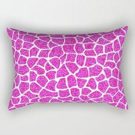 Pink Glitter Giraffe Print Rectangular Pillow