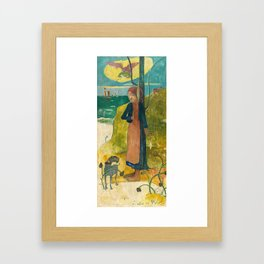 Paul Gauguin - Breton Girl Spinning Framed Art Print