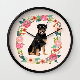 rottweiler floral wreath dog breed pet portrait pure breed dog lovers Wall Clock