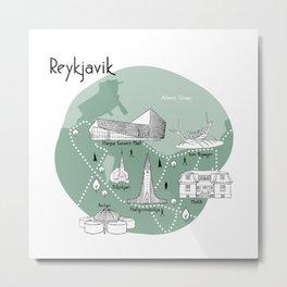Reykjavik Map - Green Metal Print