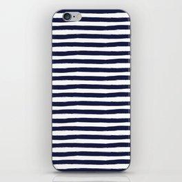 Navy Blue and White Horizontal Stripes iPhone Skin