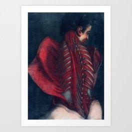 Anatomy art BACK RIB MUSCLE dark art, gothic home decor, gothic decor, gothic wall decor, medical Art Print