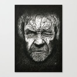 Old Pirate. Black & White Canvas Print