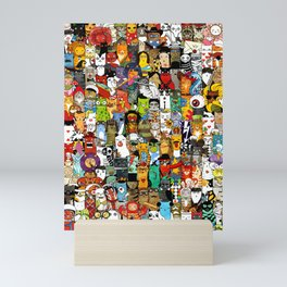 Funny Characters Collage — Culture & Science By Cats Mini Art Print