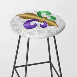Purple Green and Gold Fleur-de-Lis on Gray Pattern Bar Stool