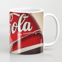 coca cola Mugs featuring Coca-Cola by BeccAi