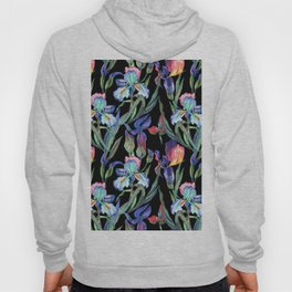 Modern elegant colorful watercolor irises floral pattern Hoody