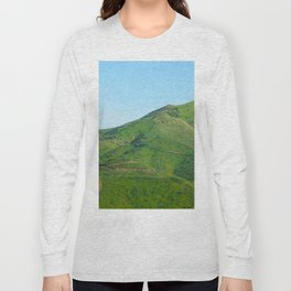 green field and green mountain with blue sky Long Sleeve T-shirt