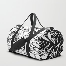 Black and White Echinacea Wildflower Drawing Duffle Bag