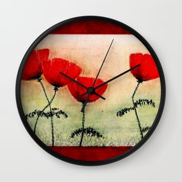 My Lovely Poppies Wall Clock