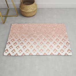 Faux rose gold glitter ombre rose gold foil triangles chevron geometric on white marble Rug
