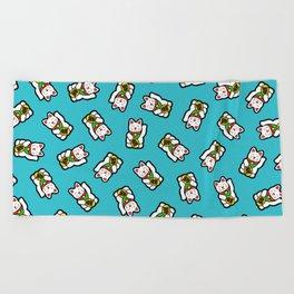 Lucky Cat Pattern Beach Towel