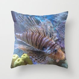 Lionfish in saltwater aquarium Throw Pillow
