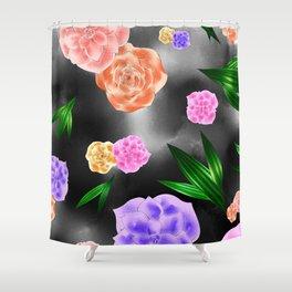 Black Blush Rose Shower Curtain