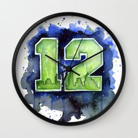 seahawks Wall Clocks featuring 12th Man Seahawks Seattle Go Hawks Art by Olechka