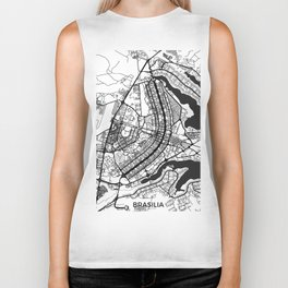 Brasilia Map Gray Biker Tank