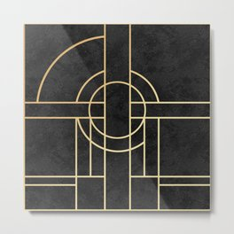 Art Deco Black Marble Metal Print