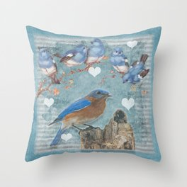 Blue Bird Mom and Her Babies Throw Pillow
