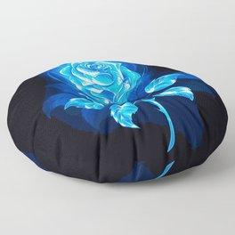 Blue Fire Rose (Painting) Floor Pillow