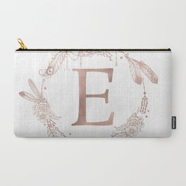 Letter E Rose Gold Pink Initial Monogram Carry-All Pouch
