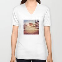memphis V-neck T-shirts featuring Memphis Street by wendygray