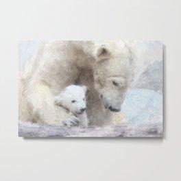 Polar Baer with Baby Metal Print