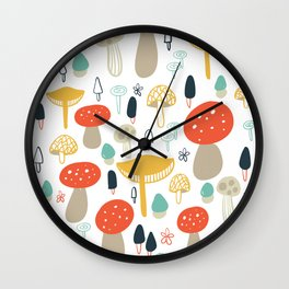Forest Mushrooms Wall Clock