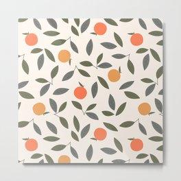 Cute Orange and Leaves Pattern Metal Print