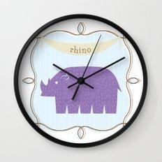 Fun at the Zoo: Rhino Wall Clock