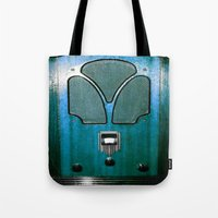 radio Tote Bags featuring Vintage Radio by 2sweet4words Designs