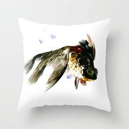 Black Moor, fish art, design cute black fish Throw Pillow