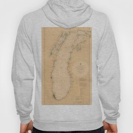 Map of Lake Michigan 1898 Hoody
