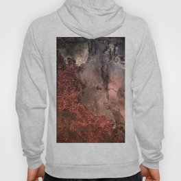 Copper Glitter Stone and Ink Abstract Gem Glamour Marble Hoody