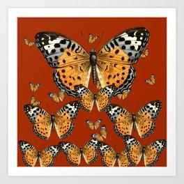 DECORATIVE BROWN COLOR ART & FLYING  BUTTERFLIES Art Print