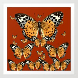 DECORATIVE BROWN COLOR ART & FLYING  BUTTERFLIES Art Print