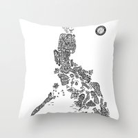 philippines Throw Pillows featuring Paranormal Philippines (white) by Rev Cruz