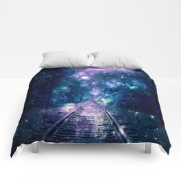 "Train Tracks : ""Next Stop, Anywhere"" Purple Teal Comforters"