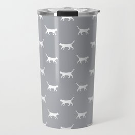 Cat silhouette cat lady cat lover grey and white minimal modern pet silhouette pattern Travel Mug