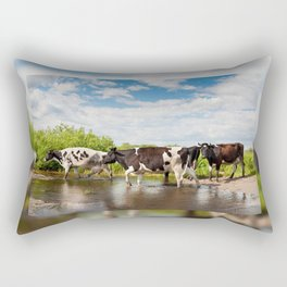 Herd of cows walking across pool Rectangular Pillow