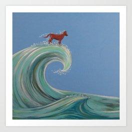 Surfing Kelpie Art Print