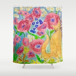 A tiger in the garden Shower Curtain