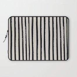 Vertical Black and White Watercolor Stripes Laptop Sleeve