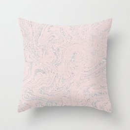 Blush pink elegant silver glitter abstract marble Throw Pillow