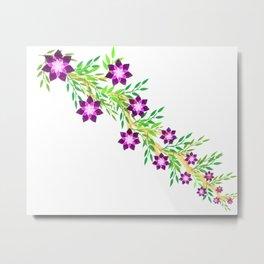Purple flower watercolor Metal Print