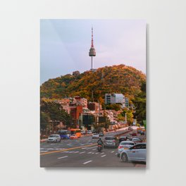 Seoul Nearing Sunset - Namsan Tower Metal Print