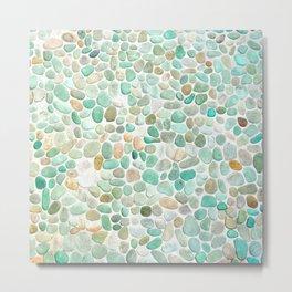 Mint Sea Stones Metal Print
