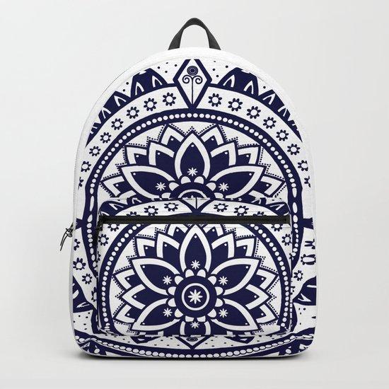 Blue & White Patterned Flower Mandala Design Backpack