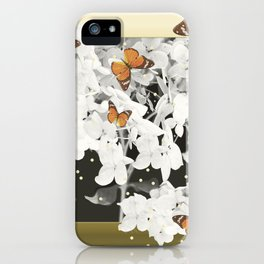 Hydrangea And Butterflies in Frame #decor #society6 iPhone Case