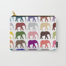 Colorful Elephants - Pink Purple Green Blue Carry-All Pouch